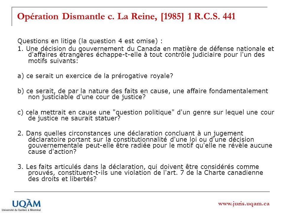 Opération Dismantle c. La Reine, [1985] 1 R.C.S. 441